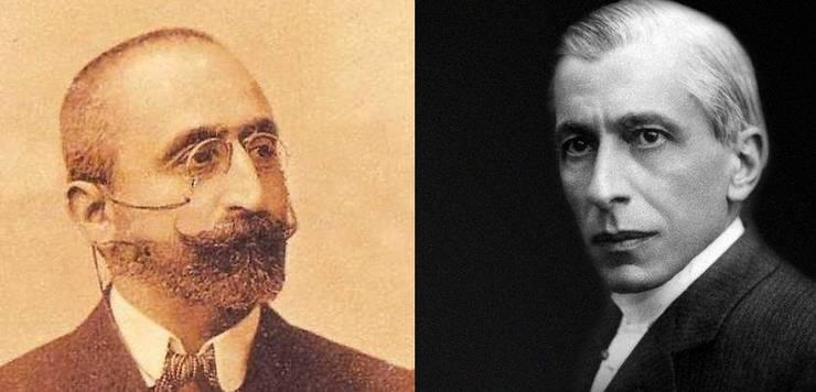 A.C. Cuza (stânga) și Nicolae Paulescu