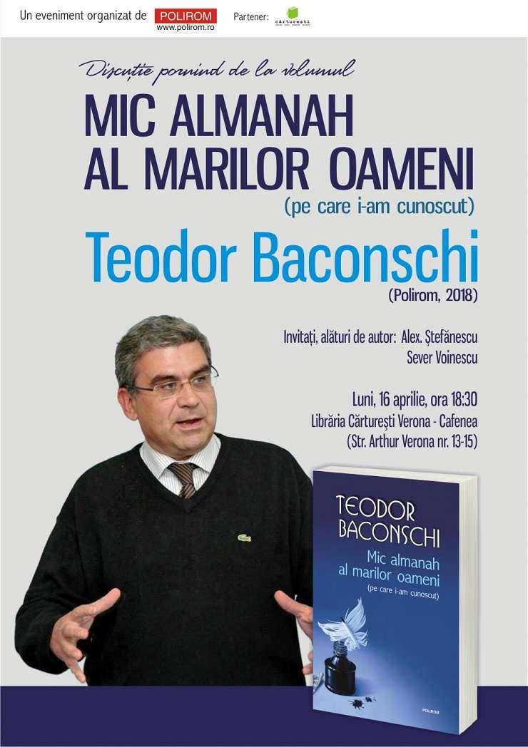 Afiș Mic almanah al marilor oameni (pe care i-am cunoscut), Editura Polirom, 2018