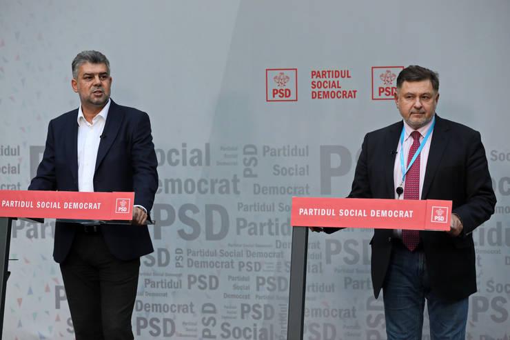 Marcel Ciolacu și Alexandru Rafila (d), în conferință de presă, la sediul PSD (Sursa: MEDIAFAX FOTO)