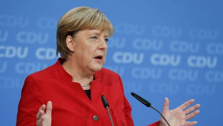 Angela Merkel facând anuntul unei noi candidaturi, 20 noiembrie 2016