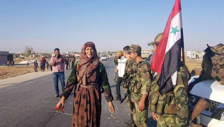 Armata siriana la Tal Tamer, în nord-estul tarii, 14 octombrie 2019.