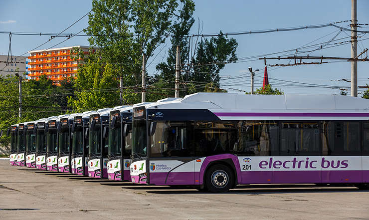 Autobuze electrice parcate in Cluj-Napoca