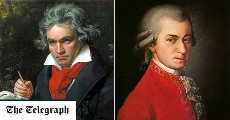 Ludwig van Beethoven și Wolfgang Amadeus Mozart