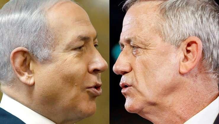 Benjamin Netanyahu (s) si Benny Gantz (d).