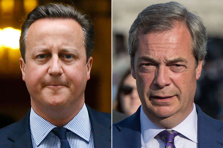 David Cameron și Nigel Farage