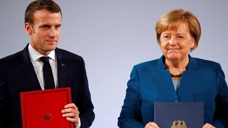 Cancelara Angela Merkel si presedintele Emmanuel Macron, 22 ianuarie 2019.