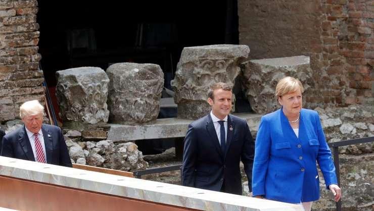 Cancelara Germaniei - Angela Merkel, presedintele Frantei - Emmanuel Macron si cel al Statelor Unite - Donald Trump la summitul G7 din Sicilia, mai 2017