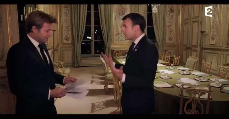 Captura ecran - interviul acordat de presedintele Frantei, Emmanuel Macron televiziunii France 2