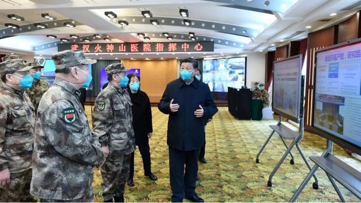 Xi Jinping într-un spital de la Wuhan pe 10 martie 2020