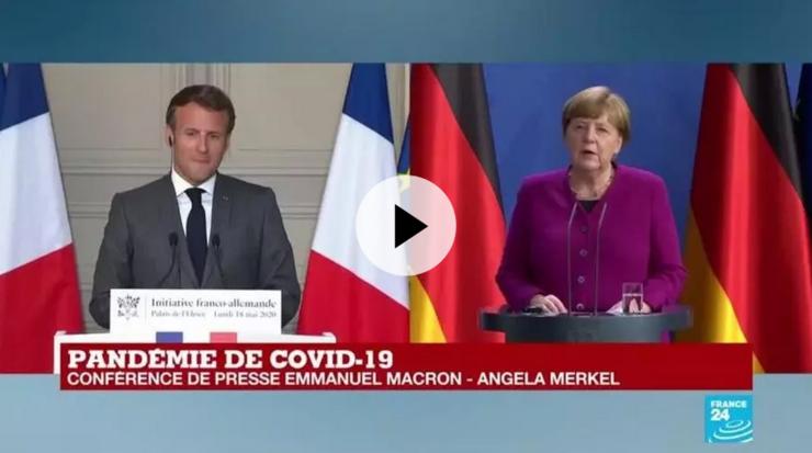 Preşedintele francez Emmanuel Macron şi cancelara germană Angela Merkel, luni 18 mai, video-conferinţă