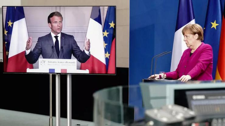 Preşedintele francez Emmanuel Macron şi cancelara germană Angela Merkel, videoconferinţă, 18 mai  2020.