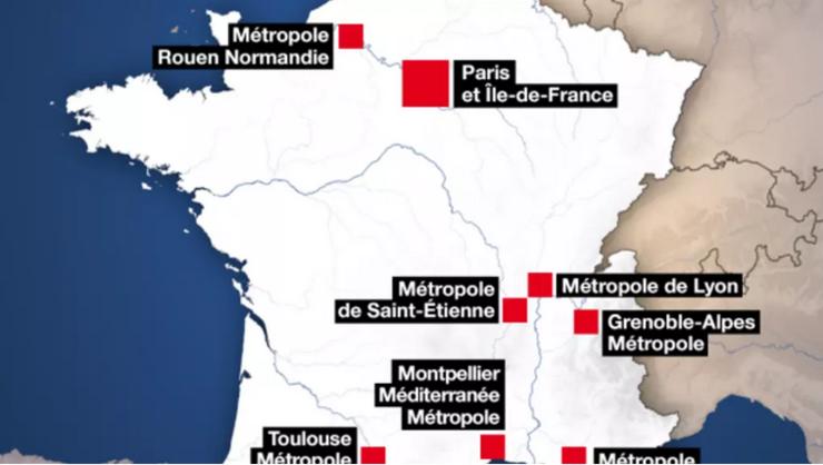 Zone din Franţa unde au fost decretate restricţii de circulaţie între ora 9 seara şi 6 dimineaţa.