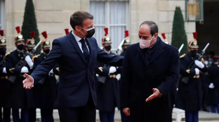 Preşedintele francez Emmanuel Macron şi preşedintele egiptean Abdel Fattah al-Sissi, 7 decembrie 2020, Palatul Elysée