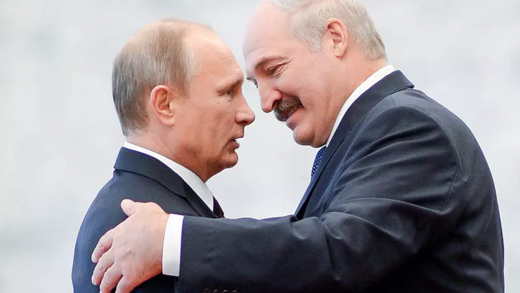 Vladimir Putin şi Aleksandr Lukaşenko în cursul unei întîlniri la Minsk în 2014.