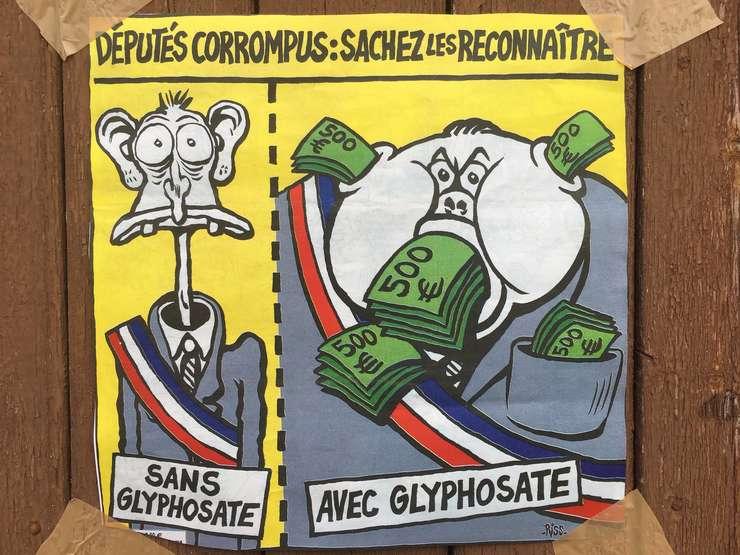 Caricatura postata pe pagina de Facebook a comunei Langouët pentru a ilustra diferenta dintre un ales care nu accepta utilizarea pesticidelor si unul care accepta.