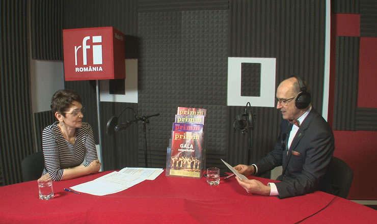 Carmen RADU şi Sergiu COSTACHE in studioul de inregistrari RFI