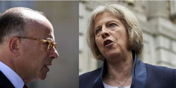 Miniștrii de interne ai Franței și Marii Britanii, Bernard Cazeneuve și Theresa May