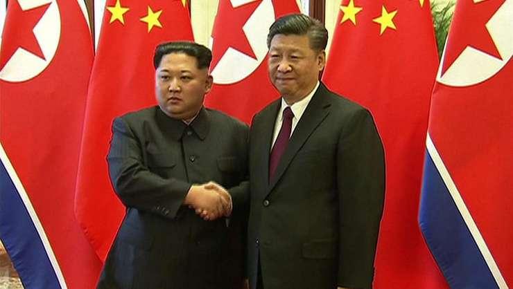 Presedintii Kim Jong-un si Xi Jinping, pe 28 martie 2018 la Beijing