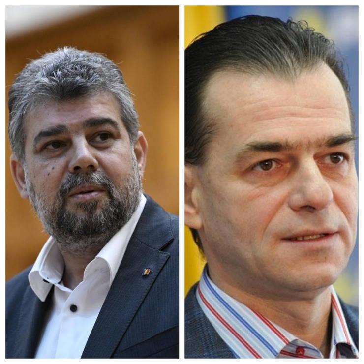 Președintele PSD, Marcel Ciolacu, și președintele PNL, Ludovic Orban