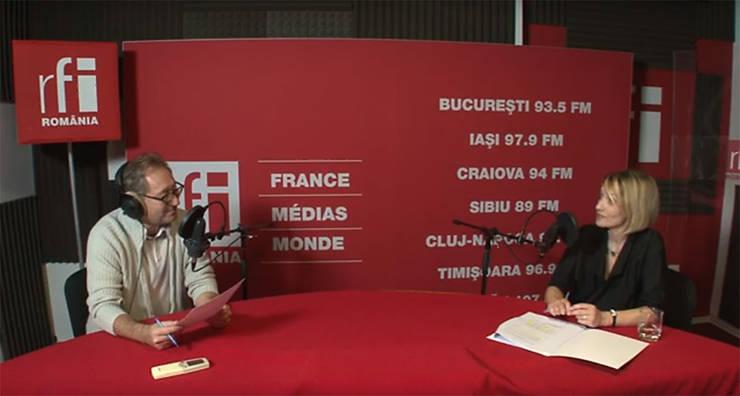 Constantin Rudniţchi și Andra Cașu in studioul de inregistrari RFI Romania