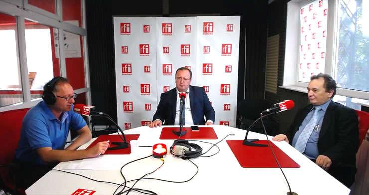 Constantin Rudniţchi, Adrian Benţa și Sorin Dinu in studioul RFI Romania