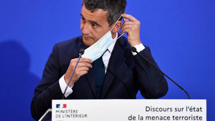 Gérald Darmanin, ministrul francez de Interne, în timpul unui discurs consacrat amenintàrii teroriste rostit la sediul serviciului de informatii interne, 31 august 2020.