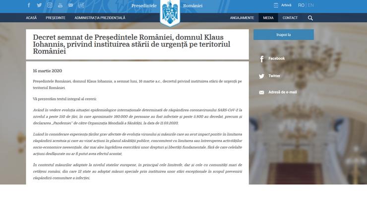 Pentru 30 de zile, incepand de astazi, Romania e in stare de urgenta ca urmare a pandemiei de coronavirus