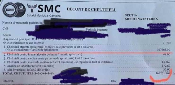 Nota de plată uriaşă emisă pentru un pacient COVID-19 din România, care a stat internat doar şapte zile.