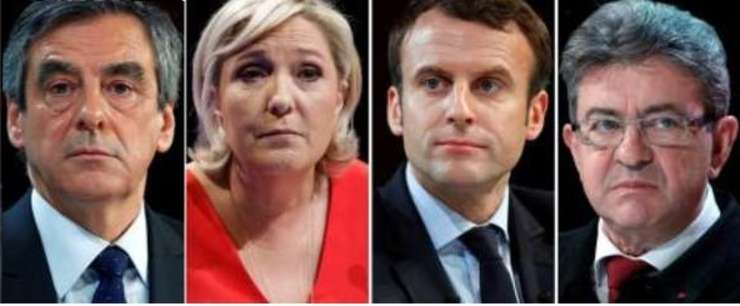 FOTO: De la stânga la dreapta, François Fillon, Marine Le Pen, Emmanuel Macron și Jean-Luc Mélenchon