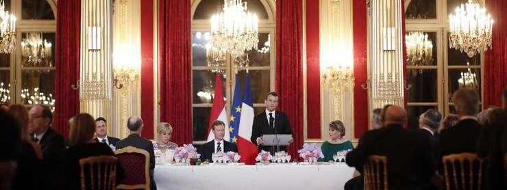 Emmanuel Macron în cursul cinei de stat oferite la Palatul Elysée Marelui Duce de Luxembourg, 19 martie 2018