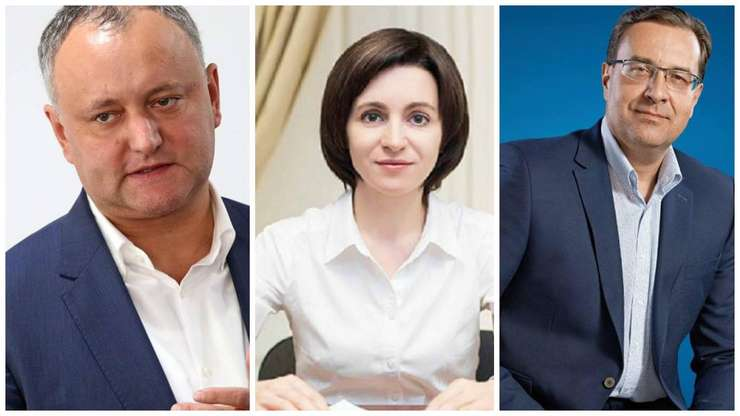 De la stânga: Igor Dodon, Maia Sandu, Marian Lupu