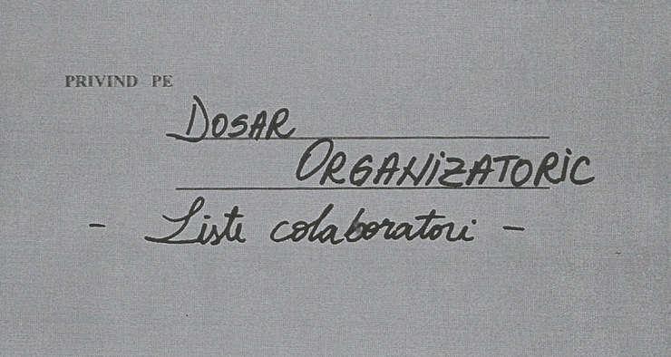 Coperta dosar liste colaboratori Securitate