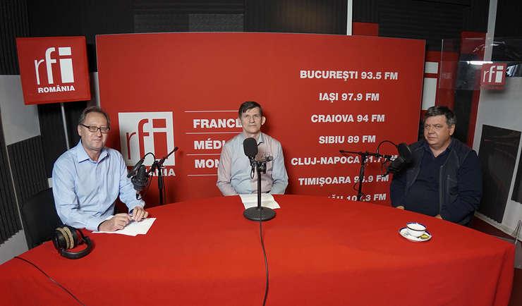 Constantin Rudniţchi, Stelian Arion și Cristian Şoricuţ in studioul RFI Romania