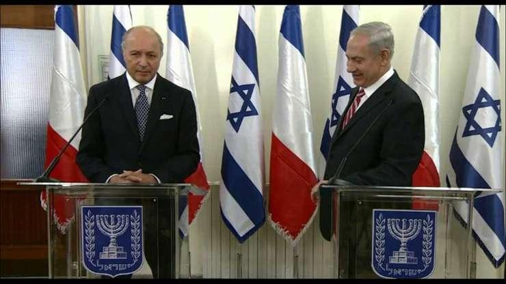 Laurent Fabius, ministrul francez de externe si Beniamin Netaniahu, premierul Israelului
