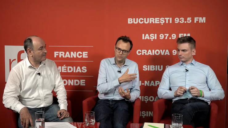 Mirel Bran, Grégoire Vigroux și Augustin Becquet in studioul RFI Romania
