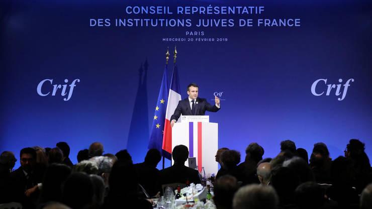 Preşedintele Emmanuel Macron pronunţînd un discurs pe 20 februarie 2019 la dineul Consiliului reprezentativ al instituţiilor evreieşti din Franţa