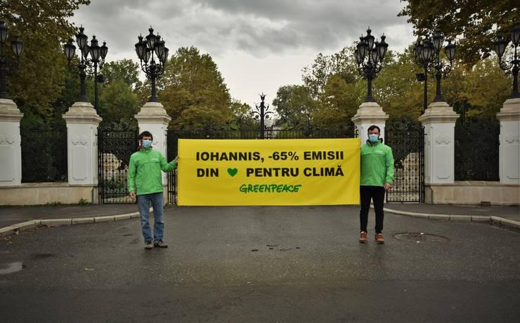Acțiune Greenpeace, în fața Palatului Cotroceni (Sursa foto: Greenpeace România)