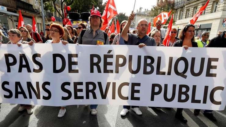 Functionarii francezi ies din nou stradà pe 22 mai la apelul principalelor 9 sindicate (aici, manifestanti pe 10 octombrie 2017 la Paris)