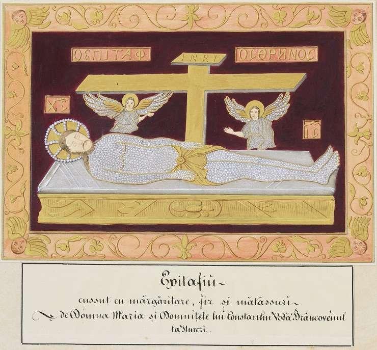 Henri Trenk, Epitaf de la Mânastirea Hurezi - Acuarela și guasa cu accente de creion pe hârtie