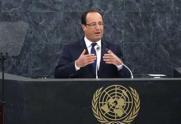 Presedintele Frantei François Hollande la tribuna ONU pe 28 septembrie 2015