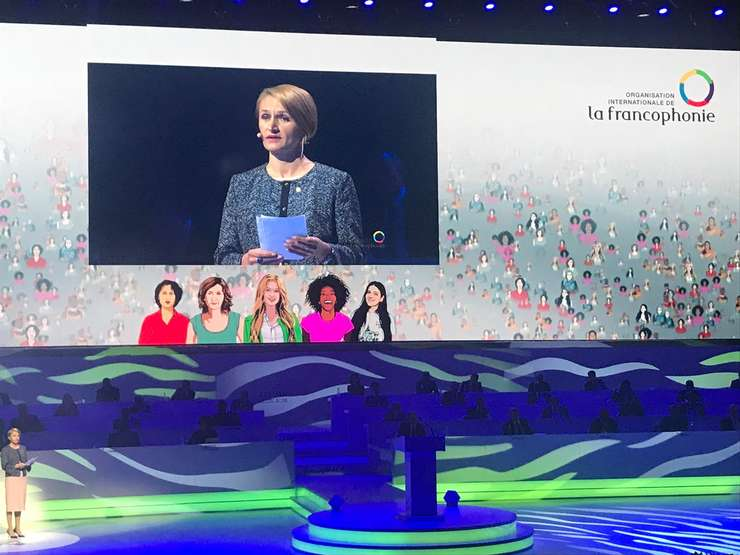 Monica Jiman la tribuna sommet-ului Francofoniei de la Erevan, 11 octombrie 2018