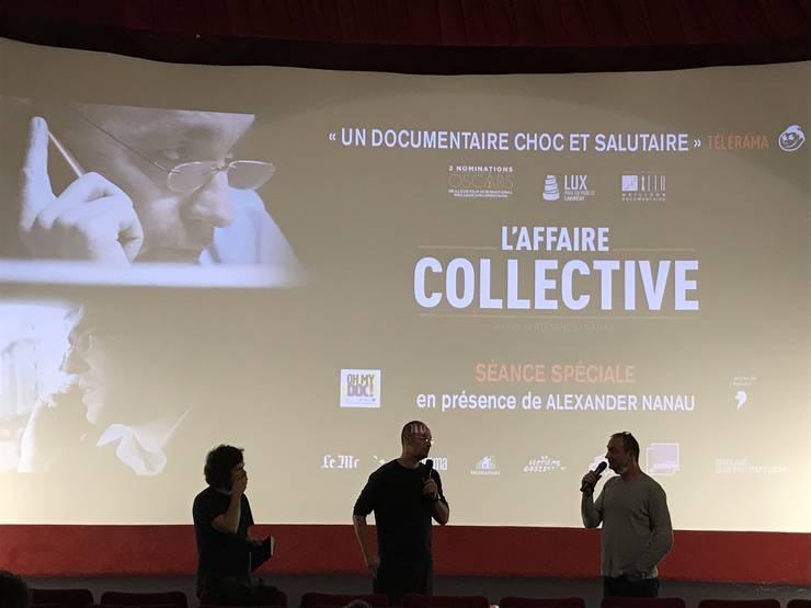 Alexander Nanau în dialog cu publicul la cinematograful Escurial din arondismentul 13 al Parisului.