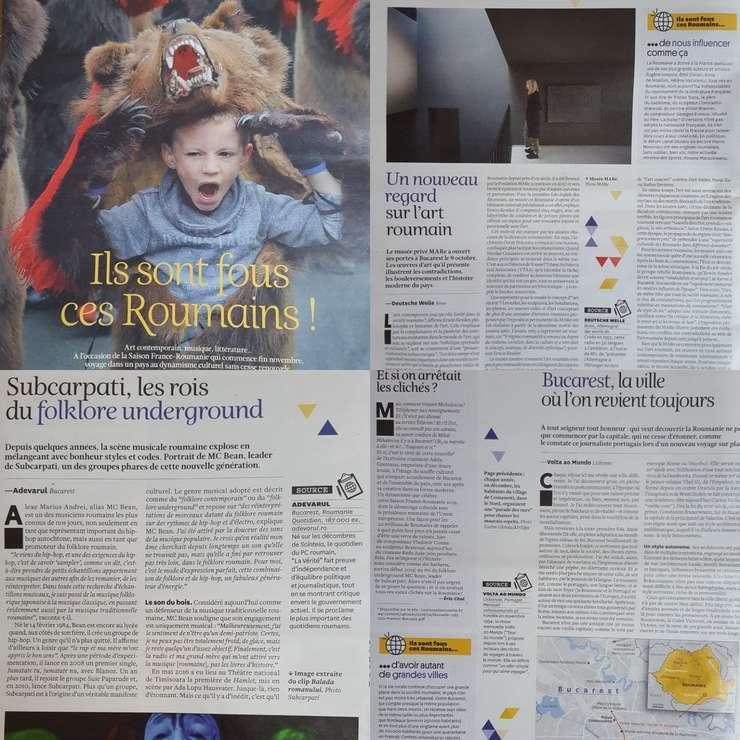 Colaj de articole din dosarul consacrat României de revista Courrier International