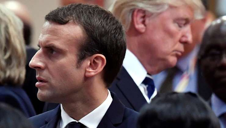 Preşedintele francez, Emmanuel Macron şi omologul american, Donald Trump (Foto: Reuters/John MACDOUGALL)
