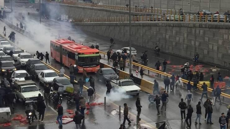 Proteste la Teheran pe 18 noiembrie 2019.