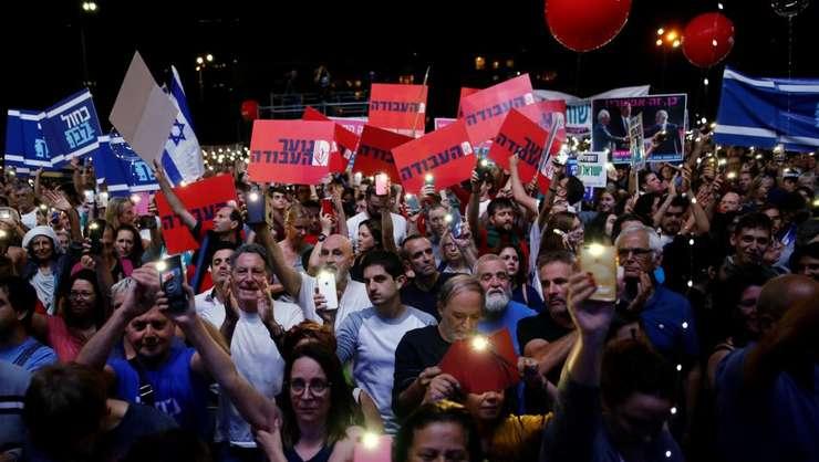 Manifestanti comemoreazà la Tel-Aviv 24 de ani de la asasinarea fostului premier israelian Ithac Rabin, 2 noiembrie 2019