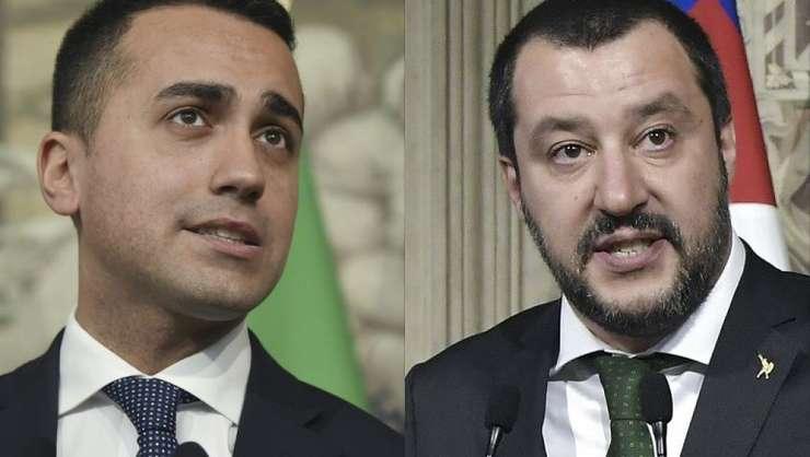 Luigi Di Maio, seful Miscàrii 5 Stele, si Matteo Salvini, patronul Ligii