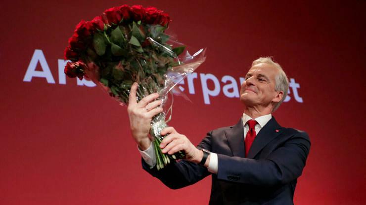 Liderul Partidului laburist norvegian, Jonas Gahr Støre, la o reuniune la Oslo, pe 13 septembrie 2021.