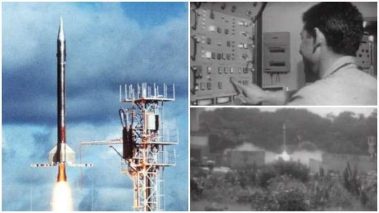 Imagini cu racheta Véronique, prima care a decolat pe 9 aprilie 1968 de pe noua bazà de la Kourou