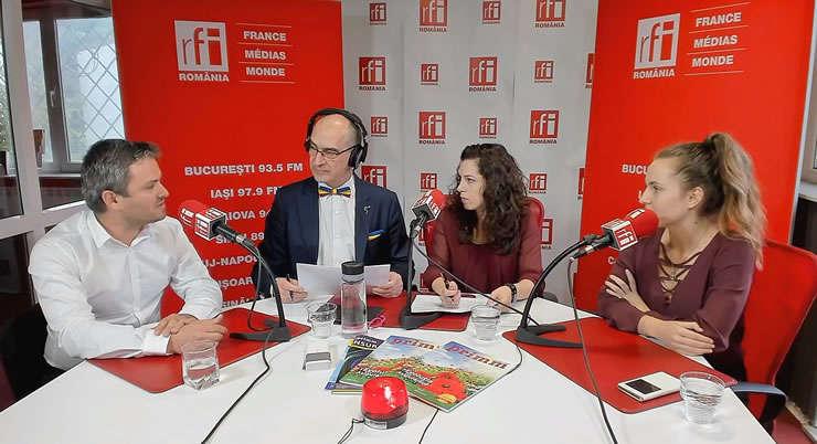 Leoveanu Eduard, Sergiu Costache, Andreea Radu și Sergiu Costache la RFI